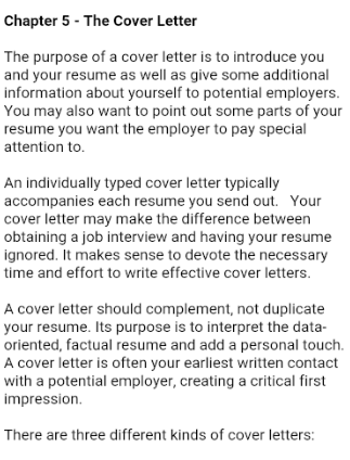cover letter screenshot. Resume Example. Resume CV Cover Letter