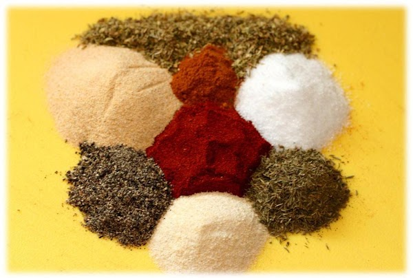 Get all of your individual spices measured out in a bowl for mixing.  As this...
