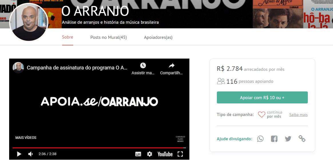 Captura de imagem da campanha O ARRANJO. Ela apresenta um box de vídeo  à esquerda e, à direita, informações sobre a quantidade de apoiadores, que são mais de 100, e o valor de arrecadação, que é de dois mil setecentos e oitenta e quatro reais.