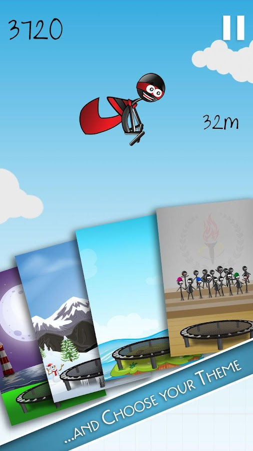 Stickman Trampoline PRO- screenshot