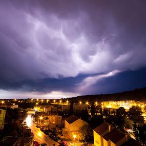Dubrovnik thunderstorm by Daniel Pavlinović - Landscapes Waterscapes ( lightning, thunderstorm, dubrovnik, croatia, cumulonimbus, gale )