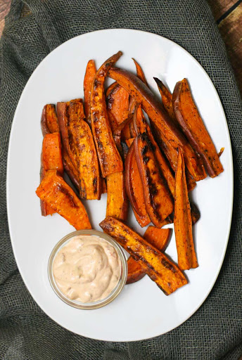 Baked Sweet Potato Fries with Chipotle Aioli
