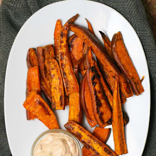 Baked Sweet Potato Fries with Chipotle Aioli.