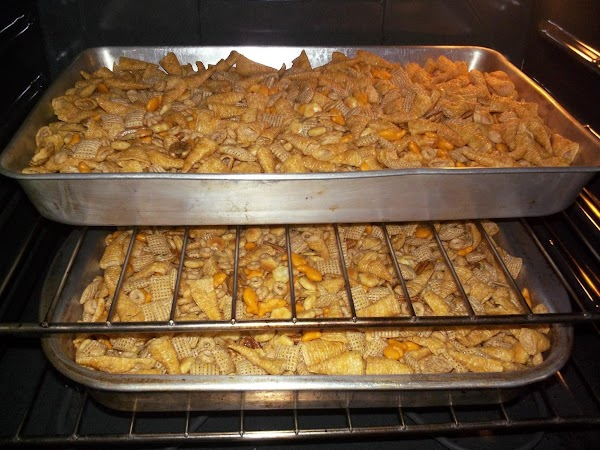 Transfer to several shallow baking pans & bake @ 200 for approximately 55 minutes,...