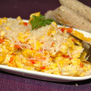Scrambled Eggs Onions and Peppers.