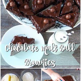 Chocolate Malt Ball Brownies.