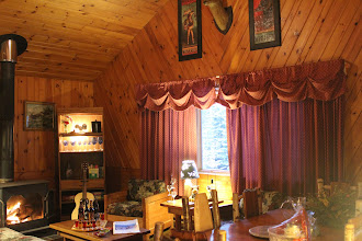 Photo: November Moon has a full cathedral style ceiling and custom cut knotty pine interior www.lodgeonlakeclear.com