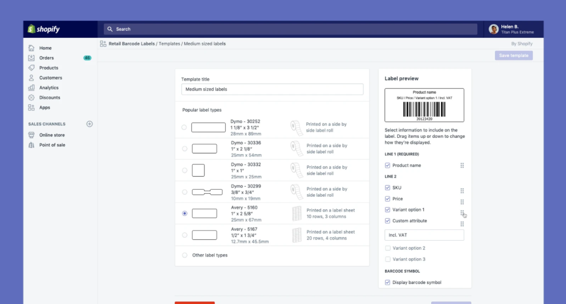 Shopify barcode app