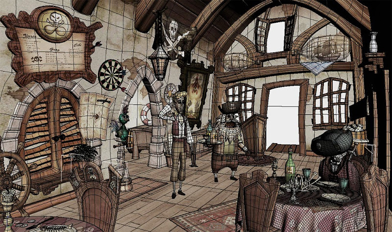 "Photo: ""Blondebeard's Restaurant"" wireframe  Author: Gaston Nicolas Alanis"