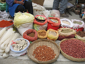 Photo: Market with typical Chinese goods for sale
