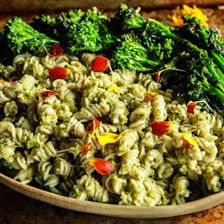 Roasted Broccoli Pesto Pasta- vegan and gluten-free.