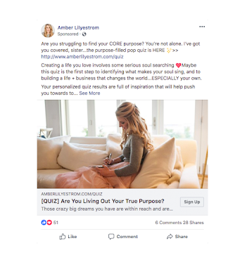 Facebook ad post about quiz with woman sitting on sofa by windows