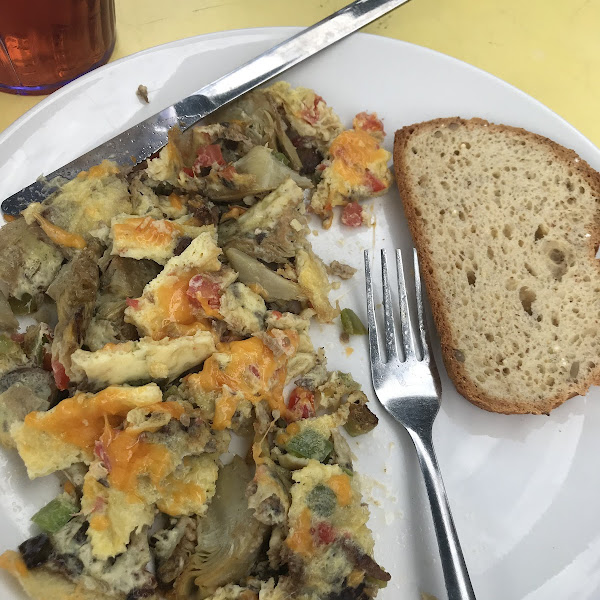 Veggie omelette with artichokes and gluten free bread. They didn't toast it so they wouldn't cross contaminate, which I appreciated