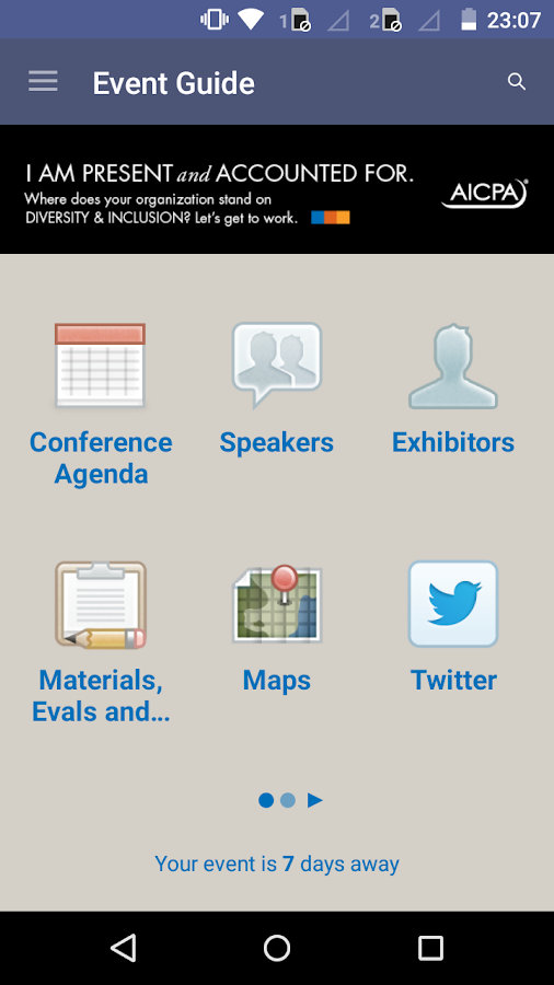 AICPA Conferences- screenshot