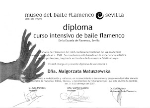 Photo: 2007r. intensywny kurs tańca flamenco (siguiriyas, zambra); lekcje indywidualne (12,5 h); prof. Carmen Lozano; Museo del Baile Flamenco Sevilla