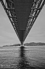 Photo: This was taken under the Seto-Ohashi bridge, on the Honshu side in Okayama Prefecture. Pretty amazing to stand right under a structure as impressive as this. Even more amazing to ride over it via train or car!