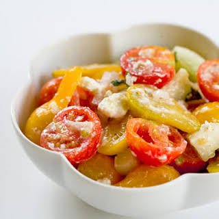 Cherry Tomato Cucumber Feta Salad.