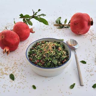 Hemp seeds, crunchy puffed quinoa, and pomegranate seeds Tabouli salad (Gluten Free)