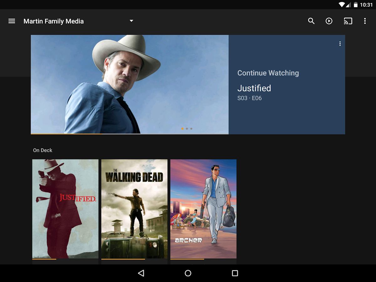 Plex for Android: captura de pantalla