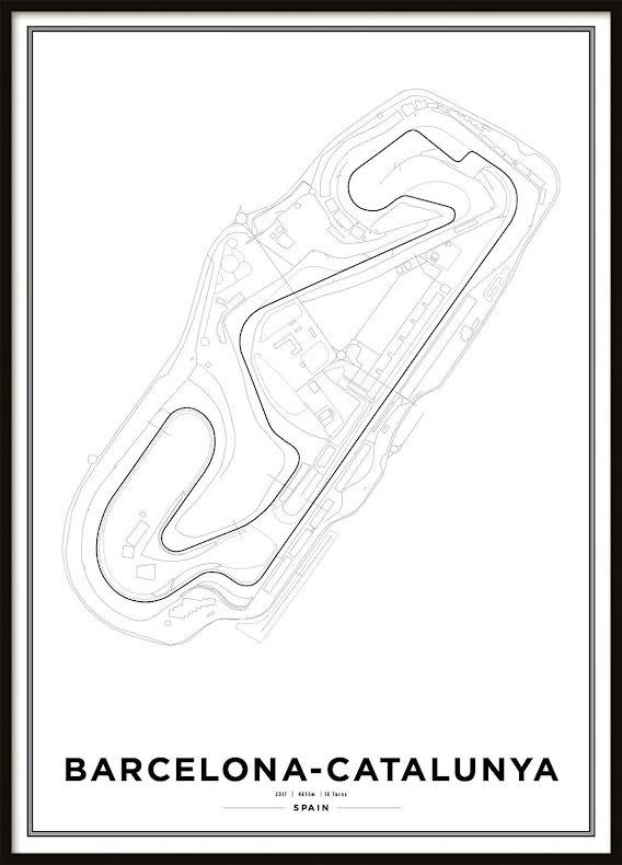 Poster, Circuit de Barcelona Formula 1 Print White