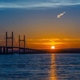 Sundown by James Booth - Landscapes Waterscapes ( waterscape, sunset, bridge, water, sea,  )