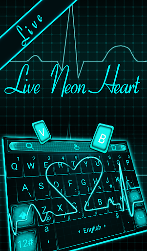 Live 3D Neon Heart Keyboard Theme for PC