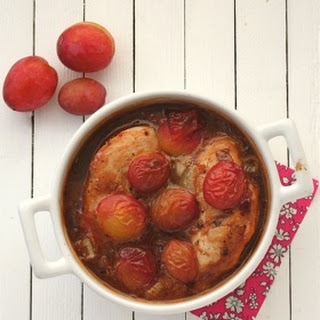 Baked Chicken with Plums, Ginger and Soy.