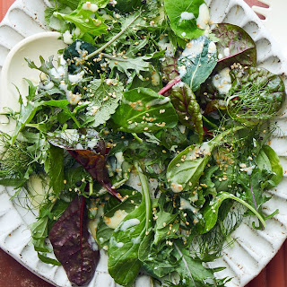 Mixed Greens with Yogurt Dressing and Dill.