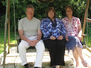 Photo: Barbara with Karyn and Trevor, friends of our hosts, at their home in Hoe.