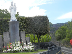 Photo: An eruption on Etna in 1992 threatened the town of Zafferano Etnea, about 12 miles north of Catania. The lava flow stopped just short of the town, in a farmer's field. The town erected this monument to the Virgin Mary in thanksgiving for the lava stopping short. https://en.wikipedia.org/wiki/Zafferana_Etnea