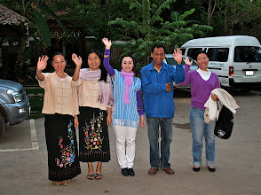 Photo: Fern Resort staff waving goodbye