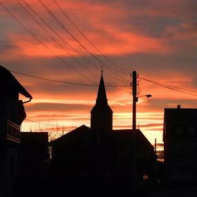 Church in village by Nat Bolfan-Stosic - Uncategorized All Uncategorized ( church, village, bright, sunset, evening )