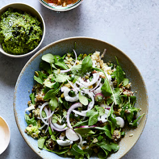 CAULIFLOWER LENTIL GRAIN SALAD WITH PUMPKINSEED PESTO & PICKLED RADISHES (Gluten-free).