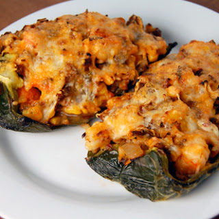 Chorizo, Shrimp & Rice Stuffed Poblano Chiles