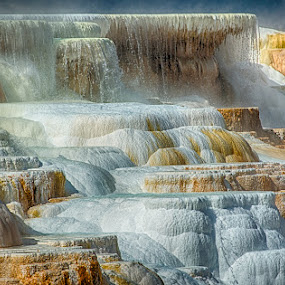 Mammoth Hot Springs Yellowstone National Park by Brent Morris - Landscapes Caves & Formations