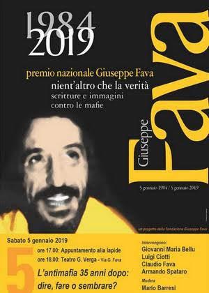 locandina 2019 commemorazione Giuseppe Fava