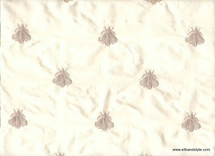 Photo: Embroidered Silk Taffeta ~ Honeybees - Tin