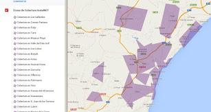 Mapa de la cobertura de InstelNET.
