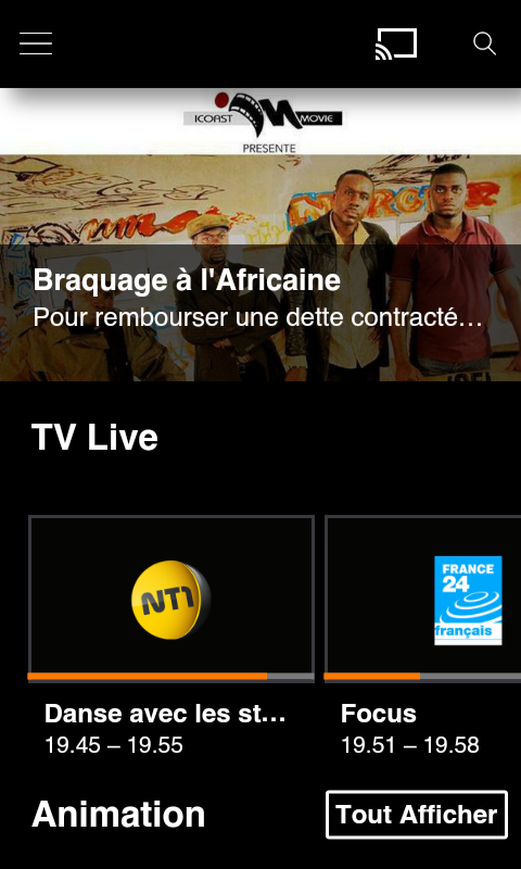 TV d'Orange Côte d'Ivoire – Capture d'écran
