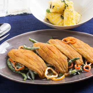 Crispy Cajun Catfish with Summer Vegetable Salad & Corn on the Cob