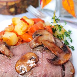 Dijon Sirloin Tip Roast with Brown Butter Mushrooms.