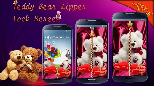 Teddy Bear Zipper Lock Screen