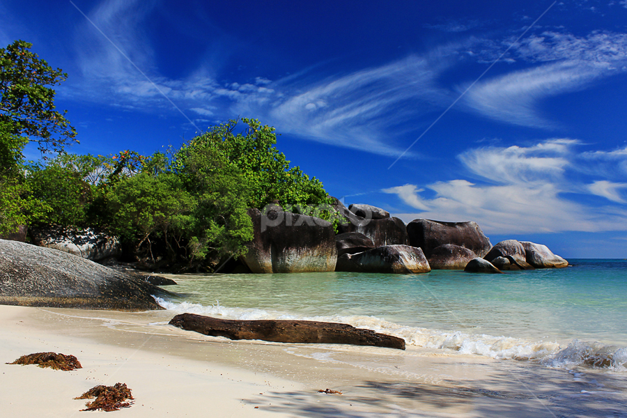 by Imansyah Putra - Landscapes Waterscapes ( clouds, pwcsummer, blue, white, stone, landscape, woods )