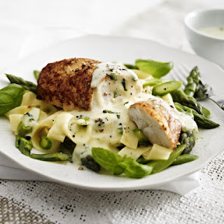 Roast Chicken Breast with Asparagus Pasta and Lemon Butter Sauce