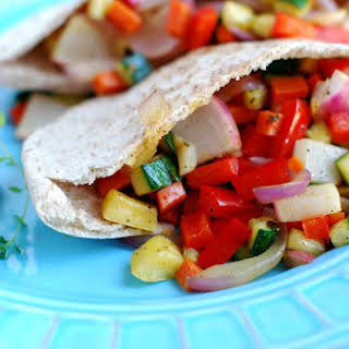 Sauteed Vegetables In A Pita.