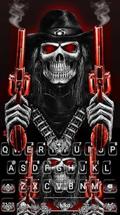 Skull Fire Guns Keyboard Theme - náhled