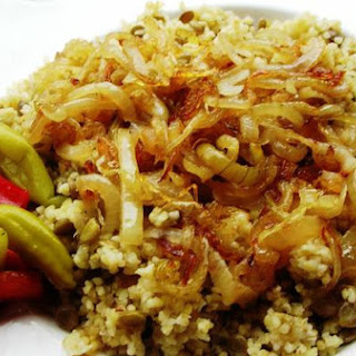 Bulgur Pilaf With Green Lentils, Served With Caramelized Onions -Mercimekli Bulgur Pilavi