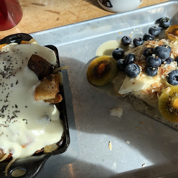Baked eggs surprise and poppy seed crepe