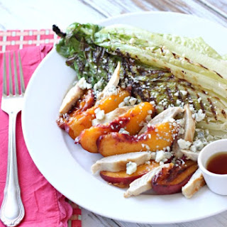 Grilled Romaine, Chicken, Peaches and Blue Cheese Salad