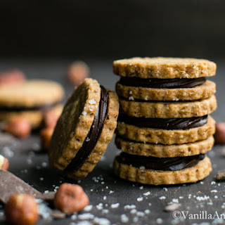 Hazelnut Shortbread with Salted Ganache Sandwich Cookies